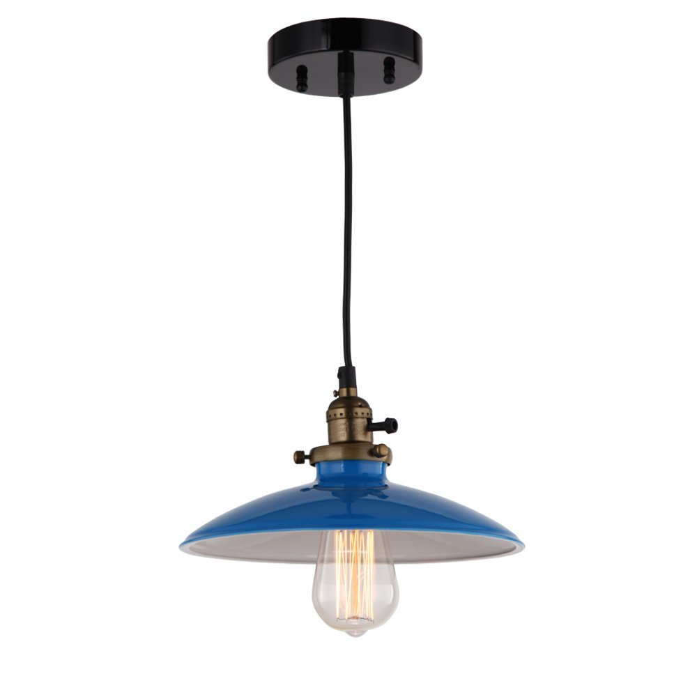 JEMMY HO Metal Pendant Light Dia 10 Inches Mini Vintage Industrial Barn Pendant Lamp (Blue) 1