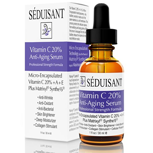 Vitamin C Serum 20% For Your Face - Professional Anti Aging Wrinkle Reducer With Matrixyl® Synthe'6® Peptides - Micro-Encapsulated Vitamin C+A+E - Stimulates Collagen & Hyaluronic Acid - Satin Salon Formula - Look Years Younger By Reducing Wrinkles, Fine