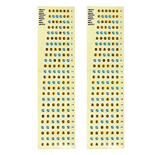 2Pcs Super Wear-resistant Ultra-durableGuitar Fretboard Note Labels Fret Sticker For Electric Guitar Bass -Blue Screen LLC