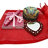Traditional Indian Lot Home Decor Handheld Mirror With Lac Jewelry Box Handmade Travel Accessories Table Top Antique... - B019670T1M