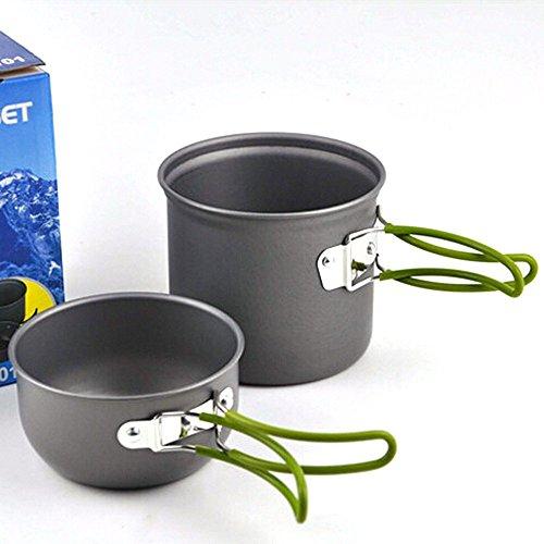 Gearmax® Set da cucina da esterno portatile anodizzato In alluminio non-stick cookware campeggio picnic escursionismo vaso ciotola per utensili da cucina per il campeggio, trekking, campeggio, picnic e altre attività
