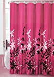 Mk Collection Floral Shower Curtain White Pink Blue 70 X 72 (Pink)