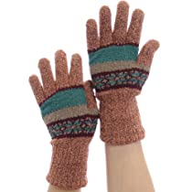 Double-Layered, Super Warm Unisex Gloves with Extra Long Cuff, Copper/Turquoise