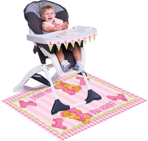 Creative Converting Bears First Birthday High Chair Kit, Pink front-559122