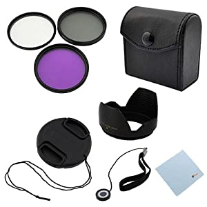 GTMax 58mm Professional Accessory Kit for Canon EOS Rebel T4i T3i T3 T2i T1i XT XTi XSi 6D 7D 60D 60Da [Includes: Filter Set + Lens Cap + Cap Holder + Lens Hood + Cleaning Cloth]