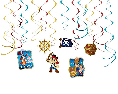 Diseny Jake and the Neverland Pirates Party Foil Hanging Swirl Decorations / Spiral Ornaments (12 PCS)- Party Supply, Party Decorations