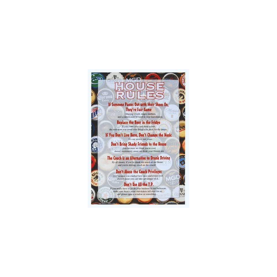 House Rules Funny Tin Sign 11 X 8 on PopScreen