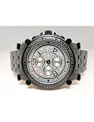 2.25 CT New Mens Jojino Metal 56 Black Diamond Watch MJ-1172b