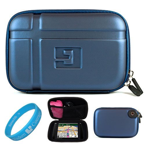 Blue EVA Durable 5.2-inch Protective GPS Carrying Case with Removable Carbineer for Garmin dezl 50LM/50 / 2450 / 1450NOH / 2460LT 5 inch Portable GPS Navigation System + SumacLife TM Wisdom Courage Wristband