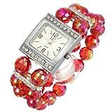 Ladies Women Beads Band Rhinestone Crystal Bracelet Quartz Wrist Watch Red