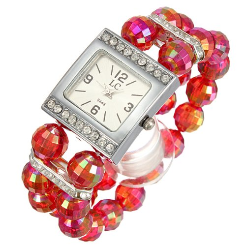 Ladies Women Beads Band Rhinestone Crystal Bracelet Quartz Wrist Watch Red