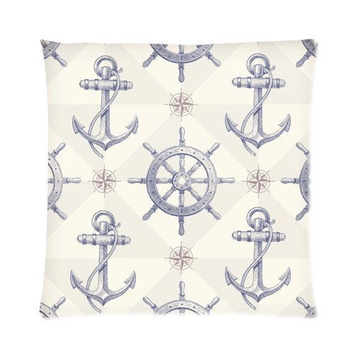 Home Decor Personalized Nautical Anchor And Rudder Zippered Throw Pillow Cover Cushion Case 16X16 (One Side) back-989575