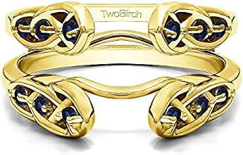 10k Gold Infinity Celtic Ring Guard Enhancer with Sapphire 024 ct twt