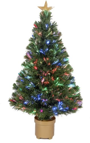 Jolly Workshop Multi-Color Led Fiber 125 Tips 11-Ply Optic Tree Top Star With Berries/Gold Base, 32-Inch