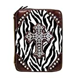 Bible Covers ~ Zebra Stripes Brown with Cross Accented with Crystals Bible Cover