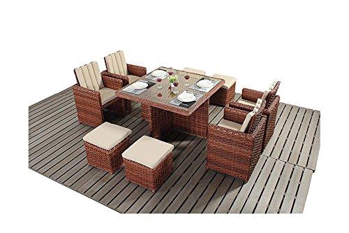 Manhattan braun Gartenmöbel, 4-Sitzer, quadratisch Balkon-Set