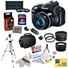 Canon PowerShot SX50 HS 12MP Digital Camera with 2.8-Inch LCD (Black) With Ultimate Accessory Kit Includes 32GB High-Speed SDHC Card + Card Reader + Extended Life Battery + 67MM 0.43x HD2 Wide Angle Panoramic Macro Fisheye Lens + 67MM 2.2x HD2 AF Telephoto Lens + 67MM 3 Piece Pro Filter Kit (UV