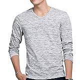 Goodid Tシャツ 長袖 カットソー Vネック 杢調 ストレッチ カジュアル メンズ(M,杢ブラック)