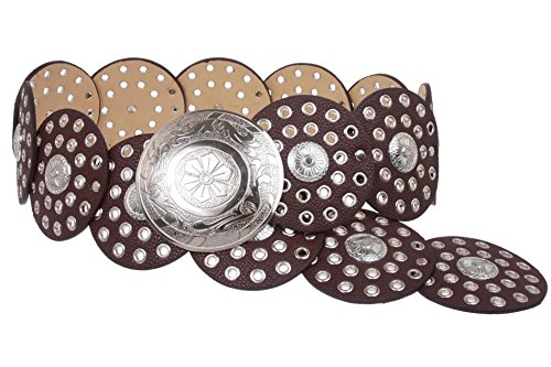 "BELTISCOOL 3 1/2"" (90 mm) Wide Boho Discs Concho Leather Belt Size: L - 45 END-TO-END Color: Brown"