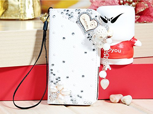 Mylife (Tm) Pearl White Sparkle Love Design - Textured Koskin Faux Leather (Card And Id Holder + Magnetic Detachable Closing) Slim Wallet For Iphone 5/5S (5G) 5Th Generation Itouch Smartphone By Apple (External Rugged Synthetic Leather With Magnetic Clip