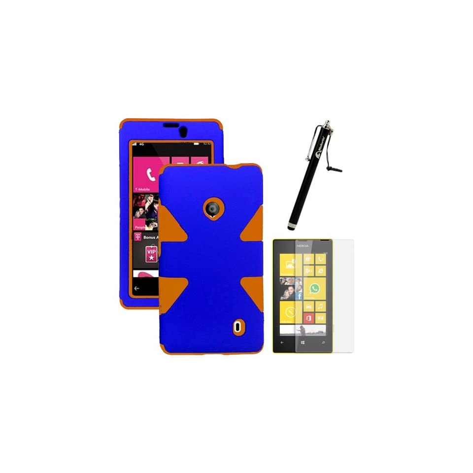 MINITURTLE, Dual Layer Tough Skin Dynamic Hybrid Hard Phone Case Cover, Clear Screen Protector Film, and Stylus Pen for Windows Smart Phone 8 Nokia Lumia 521 /T Mobile /MetroPCS (Orange / Blue) Cell Phones & Accessories