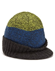 Peak Front Knitted Beanie Hat
