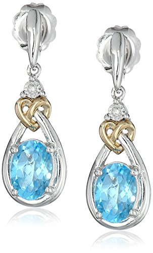 Sterling Silver and 14k Yellow Gold Diamond Accent Swiss Blue Topaz Love Knot Earrings
