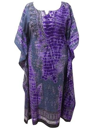 Grey & black Tie-dye Dashiki Batik Cotton Kaftan Dress to fit Size 14-16-18