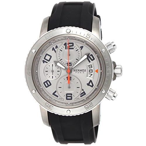 [エルメス]HERMES 腕時計 クリッパークロノ メカニック ダイバー シルバー文字盤 CP2.941.220.1C1 メンズ 【並行輸入品】