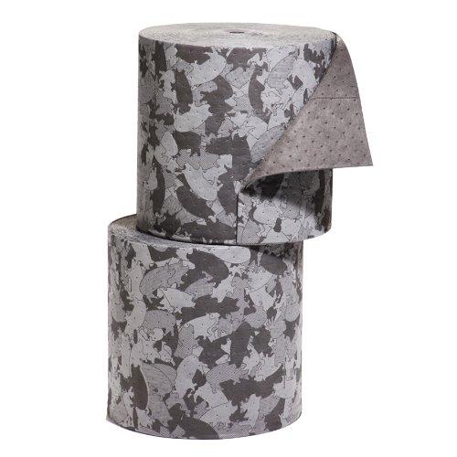 "New Pig Mat190 Polypropylene Gray Ham-O Barrel Absorbent Mat Roll, 47.5 Gallon Absorbency, 300' Length X 16"" Width, Gray/Black (Bag Of 2) front-965821"
