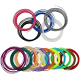 Komhode 3D Printing Filament , 20 pcs 32.8 Feet PLA Printing Filament, Including (4) Glow In The Dark (Green , Purple, Pink, Yellow), 16 Colors Ordinary PLA Filament (Blue, Purple, Pink, Orange, Black , White, Gold, Green, Red, Silver)
