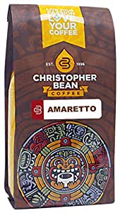 Christopher Bean Coffee Decaffeinated Whole Bean Flavored Coffee, Amaretto, 12 Ounce
