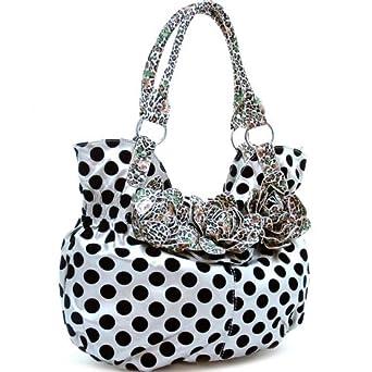 Designer Inspired Polka Dot with animal print floral front shoulder Handbag Blakc / Silver