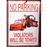 Disney Cars No Parking Wall Plaque
