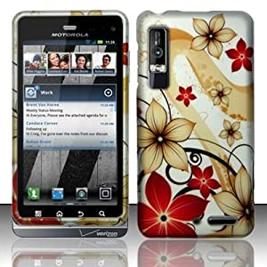 Motorola Droid 3 Verizon Rubberized Designer HARD PROTECTOR COVER CASE SNAP ON PERFECT FIT - Red Flowers