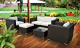Outdoor Patio Wicker Sofa Sectional 5 Pc Set Espresso - All Weather & Free Shipping!
