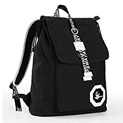 Ibagbar Fashion Vintage Durable Cotton Canvas Laptop Computer Backpack Outdoor Gym Travel Camping School College Bag Daypack Bookbags for Men and Women Black