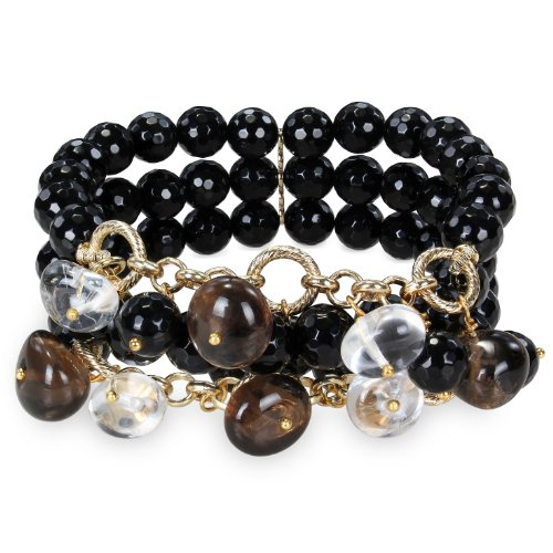 "Brass 300Ct Tgw Multi Color Black Agate Bead And Quart Bead 3 Row Stretch Bracelet (7"")"