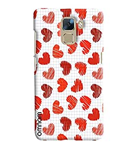 Omnam Red Hearts Pattern On White Background Printed Designer Back Cover Case For Huawei Honor 7