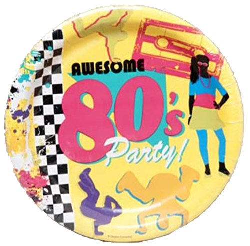 Creative Converting WM424473 Awesome 80s Party Dinner Plates, 8 ct.