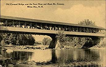Old Covered Bridge over Saco River and Moat Mountain Conway, New