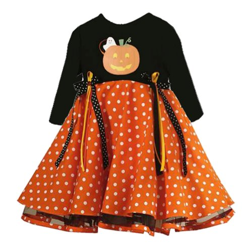 Rare Editions Baby 3M-9M BLACK ORANGE 'Pumpkin Pop-Out Ghost' RIBBON DOT PRINT Halloween-Theme Party Dress-6M-RRE-90838F-F690838