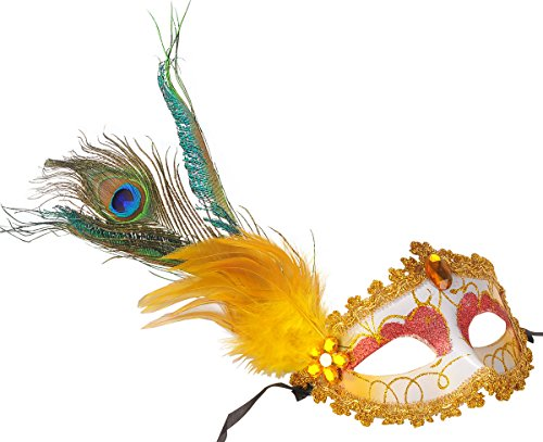 Coxeer® Deluxe Half Mask with Peacock Feathers (Painting Gold)