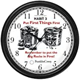 Habit 3 - Big Rocks Go First (English Text) - Wall Clock from THE 7 HABITS - CLOCK COLLECTION by WatchBuddy Timepieces (Black Frame)