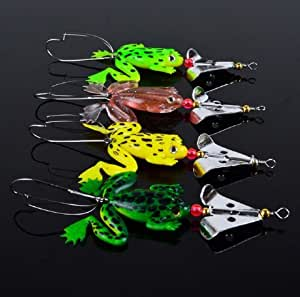 Lot 4pcs rubber frog soft fishing lures bass for Amazon fishing lures