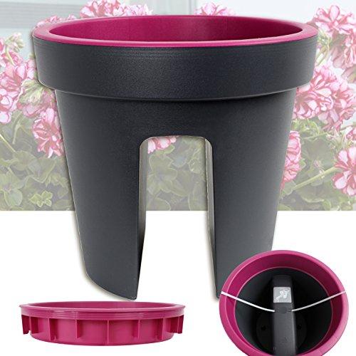 357 balkon blumentopf lila purple gel nder pflanztopf rund balkonkasten blumentopf blumenkasten. Black Bedroom Furniture Sets. Home Design Ideas