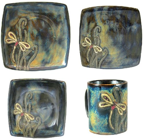 MARA STONEWARE COLLECTION - 16 Piece (4 Person) Collectible Square Shaped Dinnerware Place Setting - Dragonfly