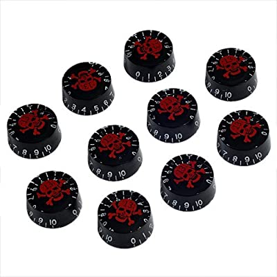 10pcs Speed Control Knobs with Skull Logo Black for Gibson Les Paul Replacement from Shenzhen Lotmusic Technologe Co.,Ltd