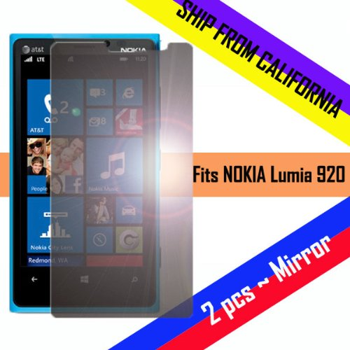 ~ Mirror ~ 2Pc Pack Mit Nokia 920 Lumia At&T Lcd Led Screen Protector Case Film Guard Invisible Shield