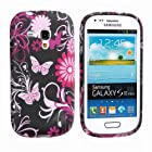 Yakamoz Flexible Pretty Flower Butterfly Design Silicone Gel Case Cover for Samsung Galaxy S III Mini I8190 with Free Screen Protector (Black with Pink Butterfly)
